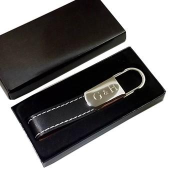 İsme Özel deri ve metal anahtarlık siyah *50