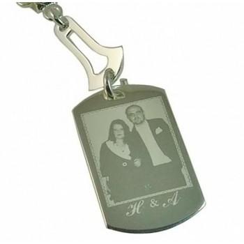 Size Özel Foto Baskılı Gümüş Kaplama Anahtarlık