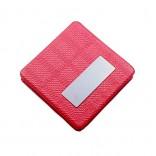 Kişiye Özel Kare Model Kırmızı Deri makyaj Aynası