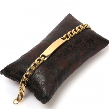 Çelik Bileklik Künye İsim Yazılan Erkek kullanımına uygun Altın Kaplama