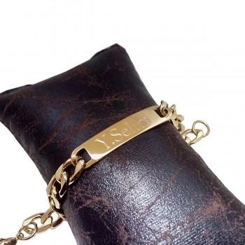 İsime Özel Yazılan 22 Ayar Altın Kaplama Çelik Bileklik Künye