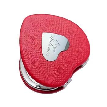 Kişiye Özel Kalp Model Kırmızı Deri makyaj Aynası