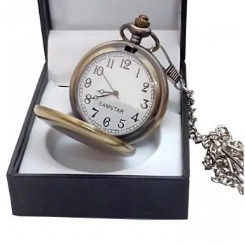 Kişiye Özel Tuğra İşlemeli Eskitme Köstekli Cep Saati