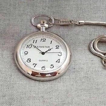 İsim Yazılan Kapaksız Köstekli Cep Saati