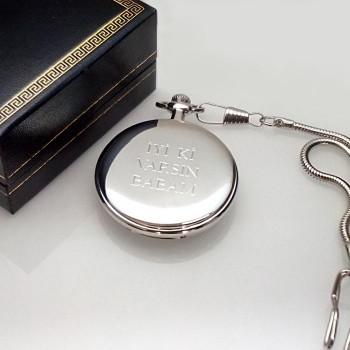Tuğralı Köstekli Cep Saati Parlak Metal İsimli