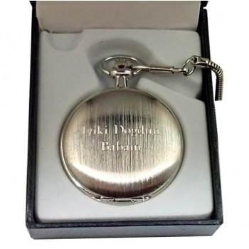 İsme Özel Yazılı Metal Köstekli Cep Saati