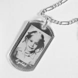 Fotoğraf Baskılı 925 Ayar Gümüş Künye Kolye 23x42
