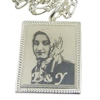 Foto Baskılı 925 Ayar Gümüş Kenar desenli Kolye 19x25