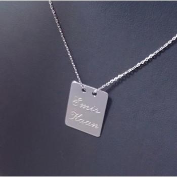 925 Gümüş Harf veya İsim Yazılı Dikdörtgen Plaka Kolye