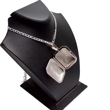 İsim Yazılı Resim Konulan Gümüş Madalyon kolye 22x30mm