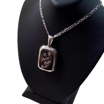 Ayetel Kürsi Yazılı Gümüş Madalyon kolye 22x30mm
