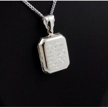 Ayetel Kürsi Yazılı Gümüş içine foto konulan kolye