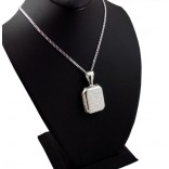 Ayetel Kürsi Yazılı Gümüş Madalyon kolye 23x32mm