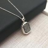 Ayetel Kürsi Yazılı Gümüş Madalyon kolye 18x28mm