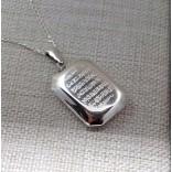 Ayetel Kürsi Yazılı Gümüş Madalyon kolye 25x35mm