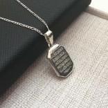 Ayetel Kürsi Yazılı Gümüş Madalyon kolye 16x24mm