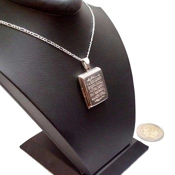 Ayetel Kürsi Yazılı Gümüş Madalyon kolye 20x25mm