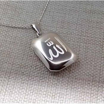 Arapça Allah Yazılı Gümüş Madalyon kolye 25x35mm
