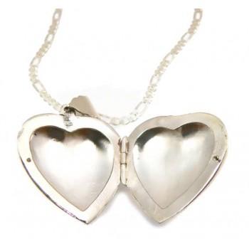 Sevgiliye hediye Gümüş İçine Resim Konulan Kalp Kolye