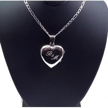 925 Ayar Gümüş İçine Resim Konulan Kalp Kolye