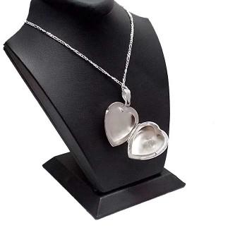 925 Ayar Gümüş İçine Resim Konulan Kalp Şeklinde Madalyon Kolye