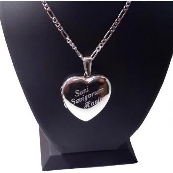 Kişiye Özel 925 Ayar Gümüş içine fotoğraf konulan kalp kolye