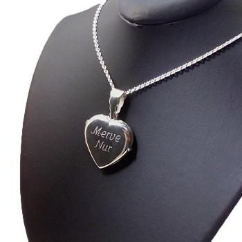 Sevgililer Günü Hediyesi içine foto konulan Gümüş kalp kolye