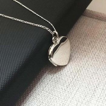 925 Ayar Gümüş içine foto konulan düz model kalp kolye