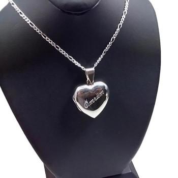 925 Ayar Gümüş içine Fotoğraf Konulabilen Kalp Kolye Harfli