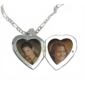 İsme Özel 925 Ayar Gümüş içine foto konulan kalp kolye