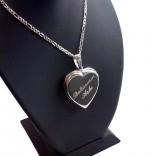 İsme Özel 925 Ayar Gümüş içine foto konulan kalp kolye 28x30
