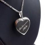 Kişiye Özel 925 Ayar Gümüş içine foto konulan kalp kolye 30x32