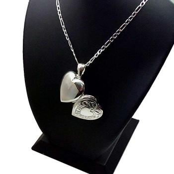 Gümüş içine Foto Konulan Motif Desenli Kalp Kolye 22x24mm