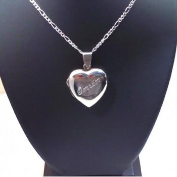 Gümüş içine Foto Konulan Motif Desenli Kalp Kolye md6
