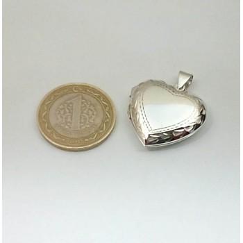 Gümüş içine Foto Konulan Motif Desenli Kalp Kolye md77
