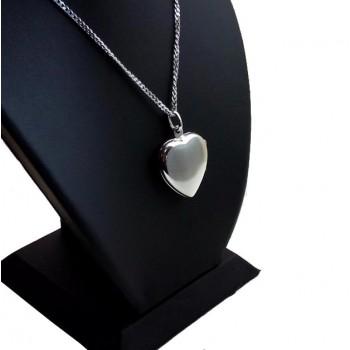Gümüş içine Foto Konulan Motif Desenli Kalp Kolye