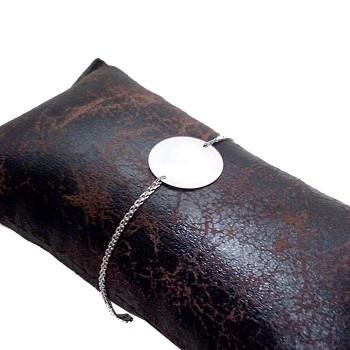 Zincirli Gümüş Bileklik Künye İsim Harf Yazılır 20mm