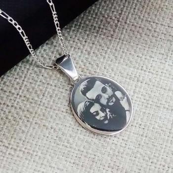 Fotoğraf Basılı 925 Ayar Gümüş Oval Kolye Zincirli