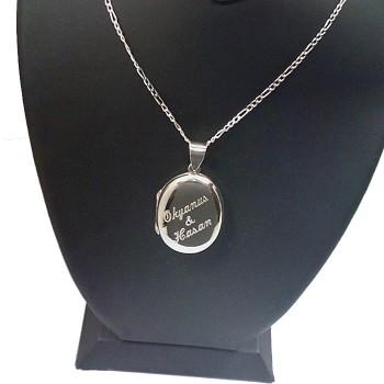 Sevgililer Günü Hediyesi Gümüş Kolye İsim Yazılı Oval