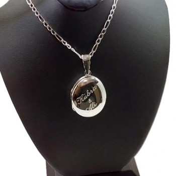 925 Ayar Gümüş içine foto konulan Oval kolye 24x38