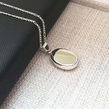 Ayetel Kürsi Yazılı İçine Foto Konulan Gümüş Oval Kolye