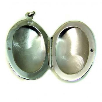925 Ayar Gümüş İçine Resim Konulan Oval Kolye 7