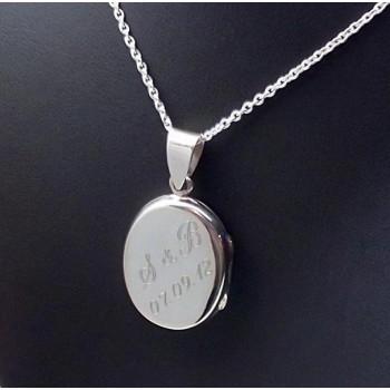 925 Ayar Gümüş İçine Resim Konulan Oval Kolye
