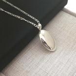 925 Ayar Gümüş içine fotoğraf konulan Oval kolye 21x30