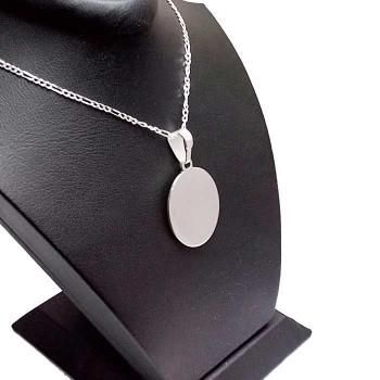 Ayetel Kürsili Harf ve İsim Yazılan Gümüş Oval Kolye