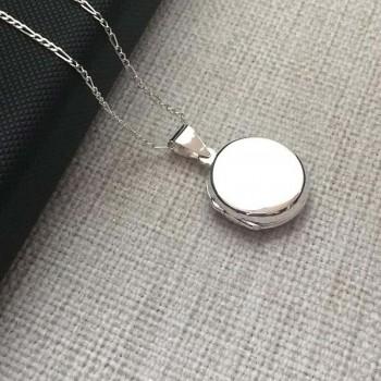 925 Ayar Gümüş İçine Foto Konulan Yuvarlak Kolye