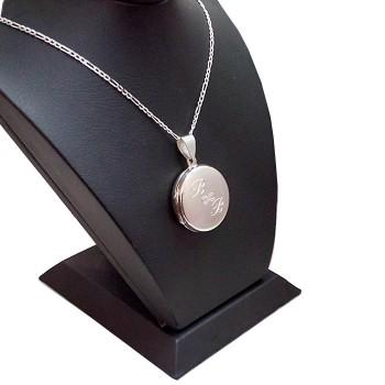İsim Yazılı 925 Ayar Gümüş içine foto konulan yuvarlak kolye
