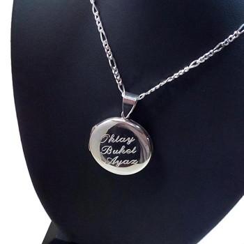 kişiye özel 925 Ayar Gümüş içine foto konulan yuvarlak kolye