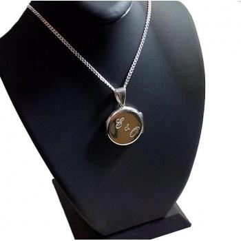 Ayetel Kürsi Yazılı 925 Ayar Gümüş içine foto konulan yuvarlak kolye
