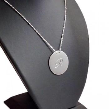Vav ve Lale Figürlü Yuvarlak Gümüş Plaka Kolye